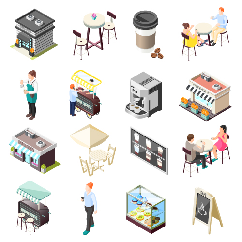 Dining in Restaurant Food Vector