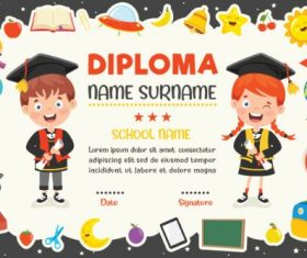 Diploma Certificate Black Background Vector