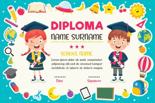 Diploma Certificate Blue Background Vector