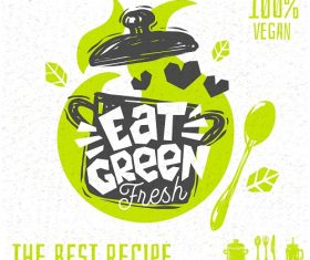 Eat Green Fresh Poster Vector