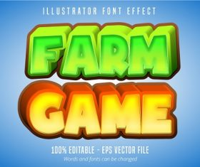 Farm Game Text Font Vector