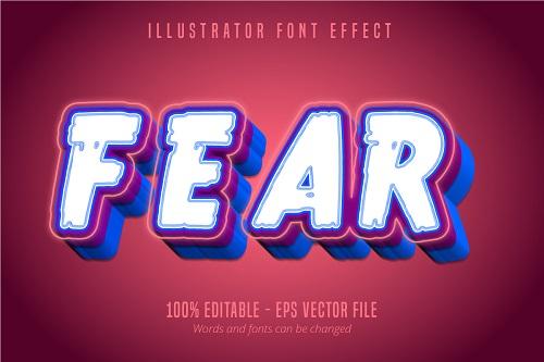 Fear Text 3D Font Vector