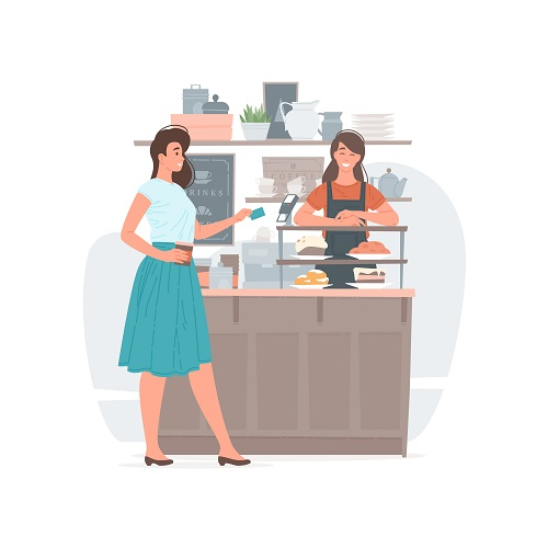 Female Customer Paying for Hot Drink Vector