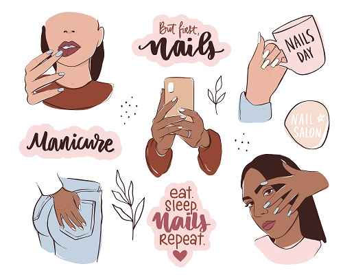 Female Hands with Different Skin Colors, Hold Nail Polish Vector