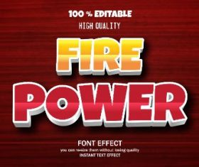 Fire Power Editable Text Effect Vector