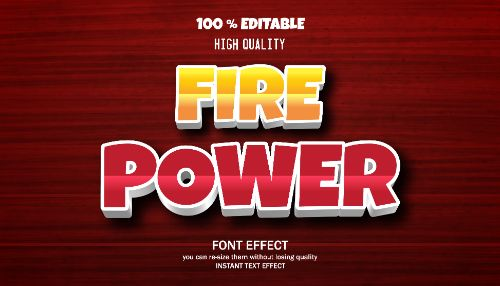 Fire Power Editable Text Effect Vector