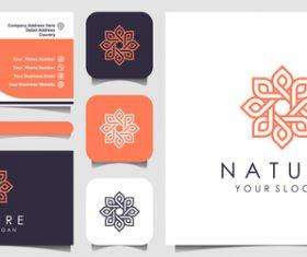 Flower pattern business card logo vector