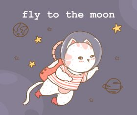 Fly to the moon vector