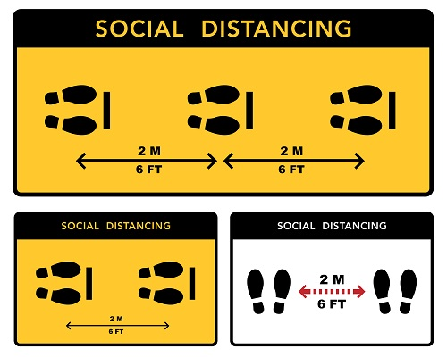 Foot Sign Social Distance Sign Vector