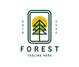 Forest Tag Line Logo Vector