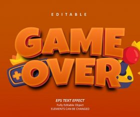 Game Over Text Orange Background Vector