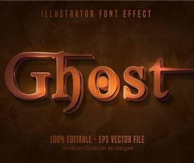 Ghost Text 3D Font Vector
