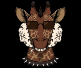 Giraffe Head with Sun Glass Vector
