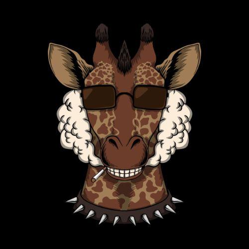 Giraffe Head with Sun Glass Vector