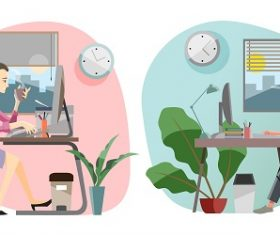 Girl Boy Working At Home Vector