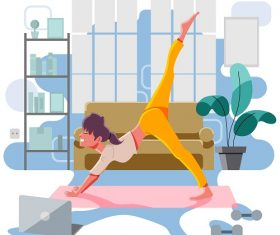 Girl Doing Her Yoga Exercise Vector