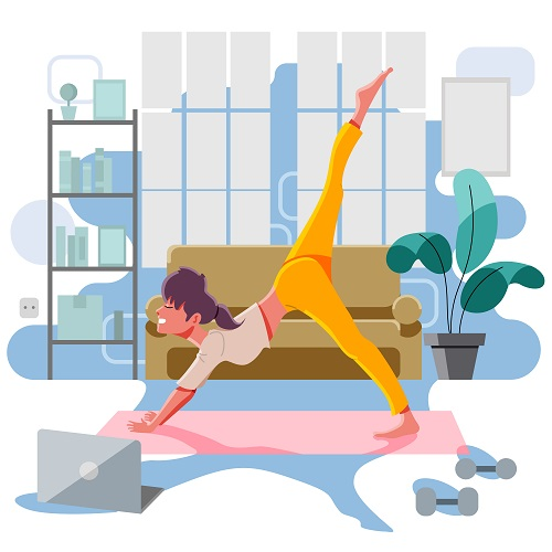 Girl Doing Her Yoga Exercise Vector