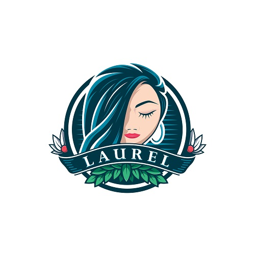 Girl Hair Laurel Sample Logo Vector