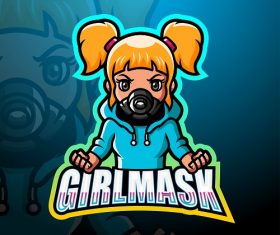 Girl Mask Logo Vector