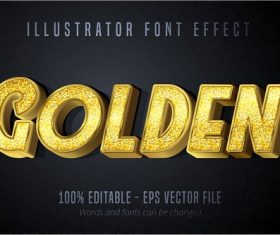 Glitch Golden Text Effect Vector