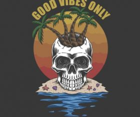 Good Vibes Only Skull Vector