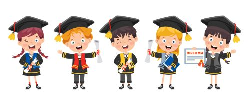 Graduating Children Cartoon Vector