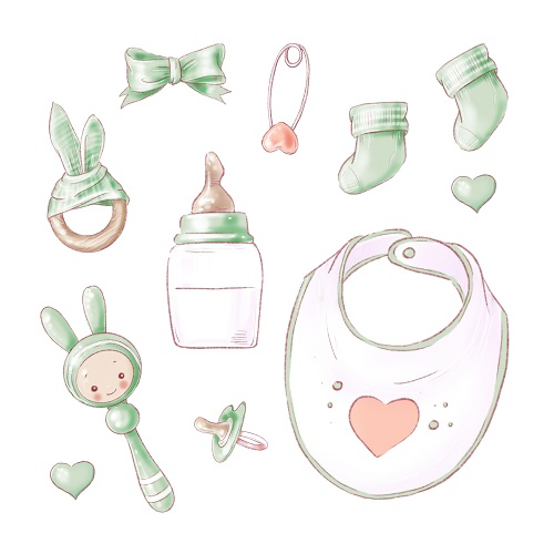 Green Baby Things Vector