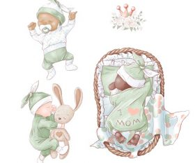 Green Blanket Baby Sleeping Vector