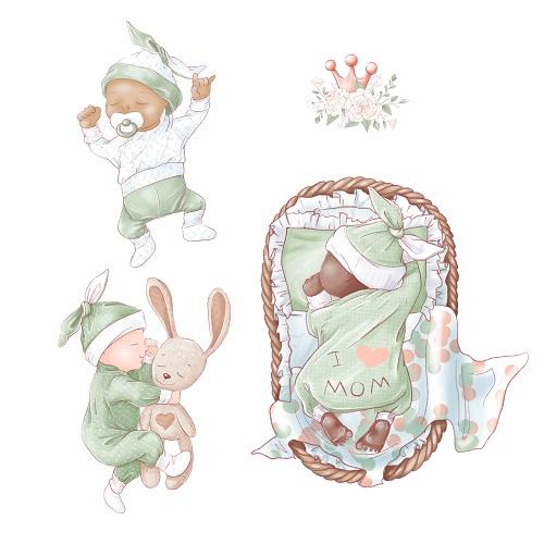 Green Blanket Baby Sleeping Vector