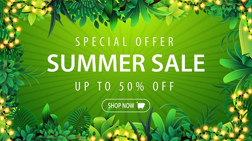 Green Discount Banner With Tropical Design Vector