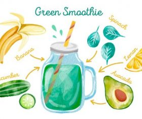 Green Smoothie Ingredients Vector