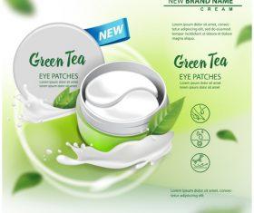 Green tea cosmetic cover vector
