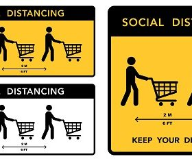 Grocery Social Distance Sign Vector