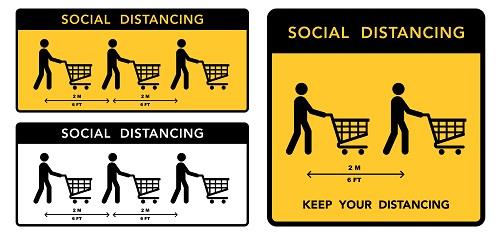 Social distancing banner. Keep the 2 meter distance. Coronovirus