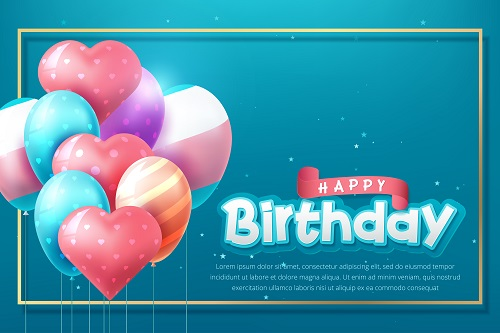 Happy Birthday Blue Banner with Heart Balloons Vector