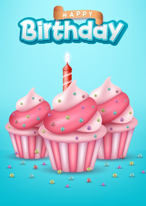 Happy Birthday Pink and White Cupcake Vector