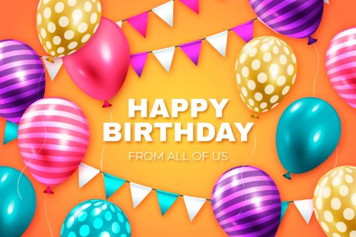 Happy Birthday With Colorful Balloons Vector