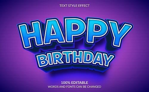 Happy Birthday Font Background Vector