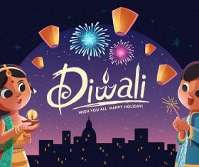 Happy Diwali Fireworks Background Vector