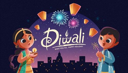 Happy Diwali Fireworks Background Vector