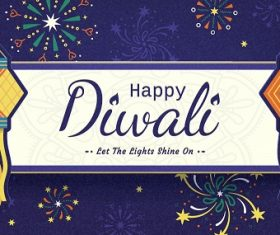 Happy Diwali Lantern Background Vector
