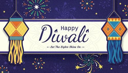 Happy Diwali Lantern Background Vector