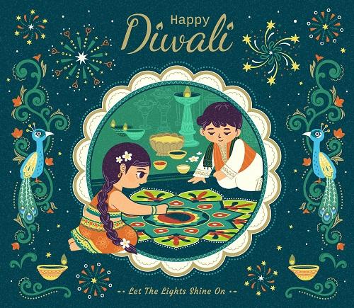 Happy Diwali Boy Girl Preparing Green Background Vector