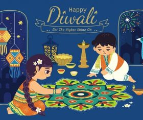 Happy Diwali Boy Girl Preparing for Diwali Fireworks Background Vector