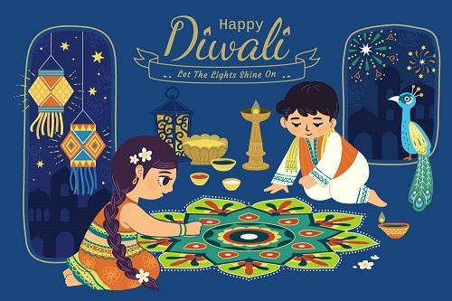 Happy Diwali Boy Girl Preparing for Diwali Fireworks Background Vector