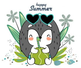 Happy Summer Drawing Vector