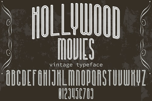 Hollywood Movies Vintage Typeface Font Vector