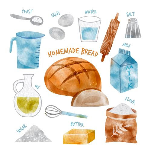 Home Made Bread Ingredients Vector