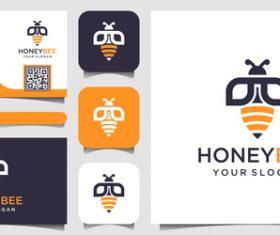 Honeybee business card logo vector