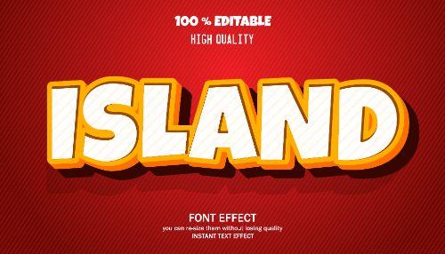 Island Editable Text Effect Vector